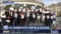 Des journalistes se réunissent pour clamer leur liberté d'informer à Paris