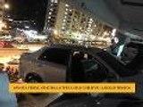 Wanita cemas, kenderaan tergantung selepas langgar tembok