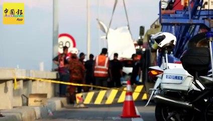 ◤休旅车被撞下海◢ 人车吊到桥上