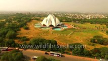 Lotus temple in Delhi, as seen aerially - World Heritage site_