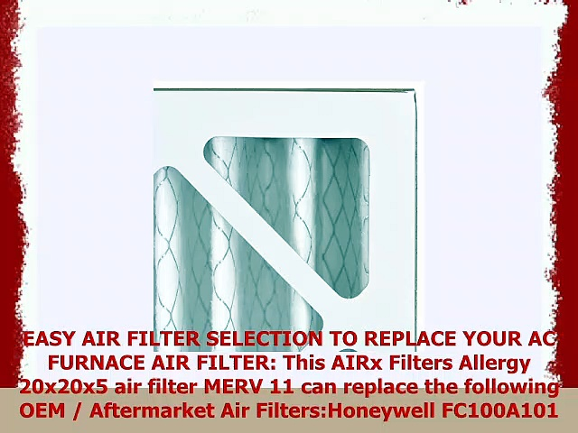 AIRx Filters Allergy 20x20x5 Air Filter MERV 11 AC Furnace Pleated Air Filter Replacement