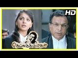 Deiva Thirumagal Tamil movie | scenes | Anushka defends Vikram against Nassar | Santhanam