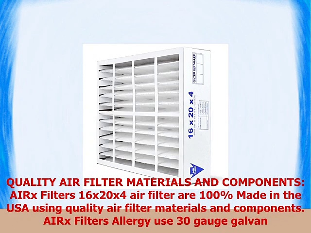 AIRx Filters Allergy 16x20x4 Air Filter MERV 11 Replacement for Bryant Carrier FAIC0017A02