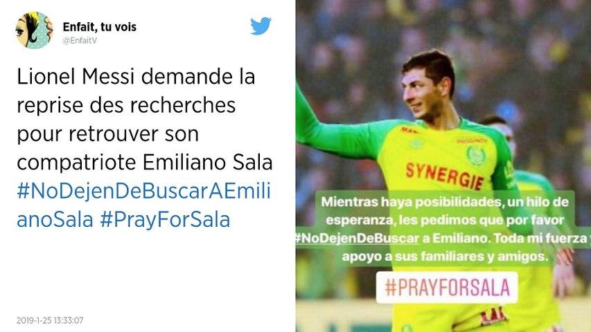 Disparition d'Emiliano Sala. Lionel Messi appelle à la reprise des recherches