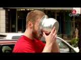 Jogger Drinks From Spit Jar