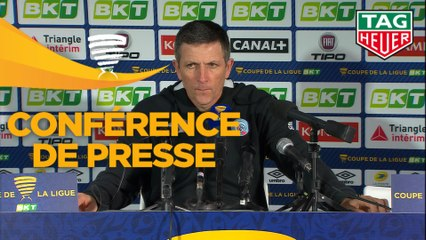 Conférence de presse RC Strasbourg Alsace - Girondins de Bordeaux (3-2) : Thierry LAUREY (RCSA) - Eric BEDOUET (GdB) - 2018/2019