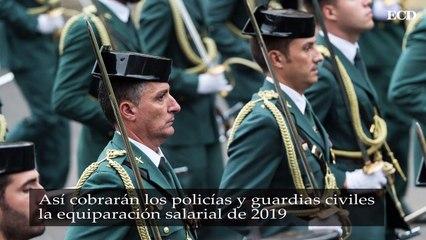 Así cobrarán los policías y guardias civiles la equiparación salarial de 2019