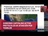 ÚLTIMA HORA: Sismo preliminar de magnitud 6.6 en Chiapas