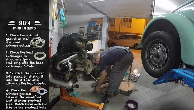 VW Beetle - Backup Motor Rebuild (part 6) - Installing Exhaust #vwbeetle #vwcarocha