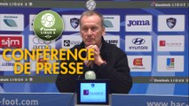 Conférence de presse Havre AC - Stade Brestois 29 (1-1) : Oswald TANCHOT (HAC) - Jean-Marc FURLAN (BREST) - 2018/2019