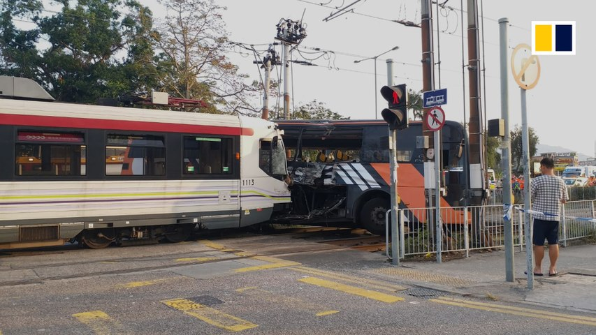 Dozens injured in light rail, coach collision in Hong Kong