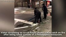 Il se prend un coup de taser d'un policier et sa jambe s'enflamme