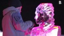 Dans les Alpes, 20 sculpteurs s'affrontent en créant des œuvres éphémères en glace