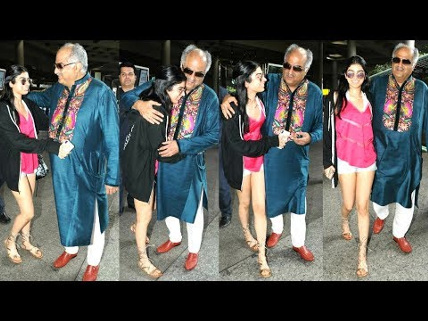 Sridevi's Daughter Khushi Kapoor HUGS Father Boney Kapoor As He Came To Receive Her At Airport