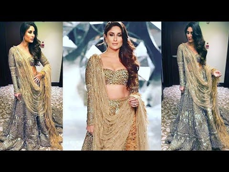 Kareena Kapoor  Walks Ramp In 30kg GOLD Lehenga   STUNNING Looks   India Couture Week 18