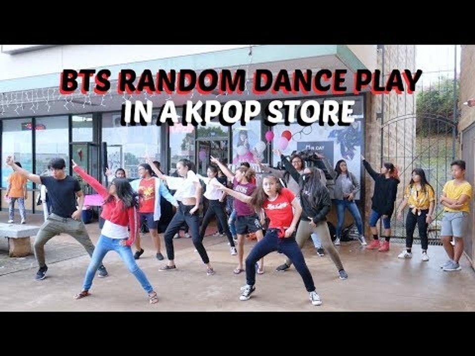 BTS RANDOM DANCE CHALLENGE in front of a kpop store lol