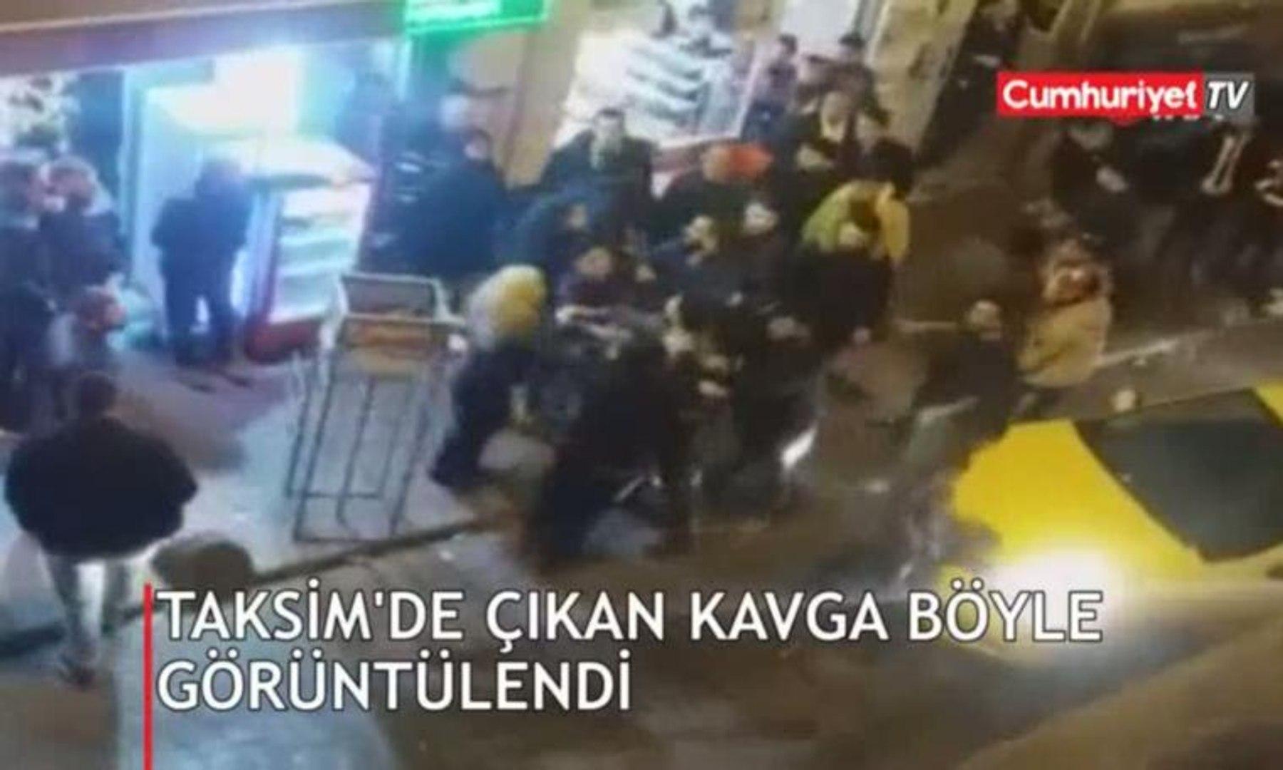 Taksim'de çıkan kavga cep telefonu kamerasında