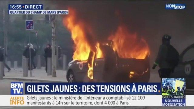 Gilets jaunes: une voiture de la mission Vigipirate incendiée à proximité du Champ de Mars à Paris