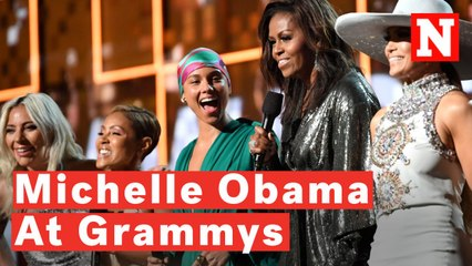 watch michelle obama surprises crowd at 2019 grammys