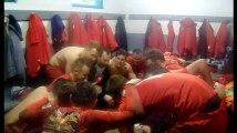 Football P4A Hainaut - La joie dans le vestiaire de Luingne après le succès 5-0 contre Néchin