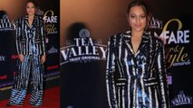 Sonakshi Sinha looks glittery in blue suit at Filmfare Glamour and Style Awards | FilmiBeat