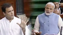 PM Modi tonts Rahul Gandhi over earthquake remark in Lok Sabha | Oneindia News