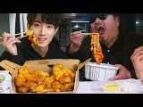 (ENG SUB) ASMR In Hair Shpo Spicy rice cake+chicken EATING SOUNDS Mukbang Show with Hair designer 미용실 머리하다 배고파서 엽떡+허니순살 치킨 리얼사운드 먹방 ASMR