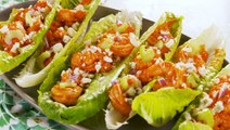 Looking For Healthy Dinner Ideas? Try These Buffalo Shrimp Lettuce Wraps!