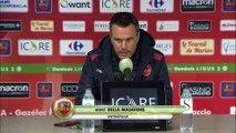 Réaction des entraîneurs Hervé Della Maggiore et Jean-Marc Furlan après Gazélec Ajaccio - Stade Brestois 29