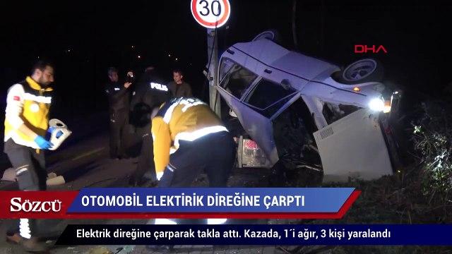 Otomobil elektrik direğine çarptı 1'i ağır, 3 yaralı