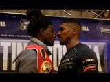 CHARLES MARTIN ATTEMPTS TO UNSETTLE ANTHONY JOSHUA IN HEAD-TO-HEAD @ FINAL PRESS CONFERENCE