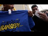 ANTHONY JOSHUA IS GIVEN A 'CHAT S***, GET BANGED!' T-SHIRT BY FAN @ WEIGH IN / MARTIN v JOSHUA