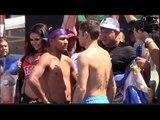 ROMAN GONZALES v CARLOS CUADRAS  - OFFICIAL WEIGH IN & HEAD TO HEAD / GONZALES v CUADRAS