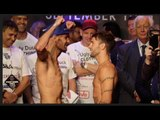 LEE HASKINS v STUART HALL - OFFICIAL WEIGH IN & HEAD TO HEAD / GOLOVKIN v BROOK