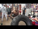 BUILDING POWER!! - OHARA DAVIES SMASHES TRACTOR TYRE WITH HEAVY HAMMER WHILE CONOR BENN LAUGHS ON