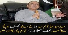 PPP co-chairman Asif Ali Zardari addresses media in Islamabad