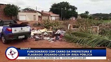 Repórter flagra funcionário da Prefeitura descartando lixo em local impróprio