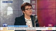 La présidente de la FNSEA, Christiane Lambert, salue l'exemplarité de l'agriculture française