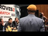 WBC CHAMPION SAKIO BIKA CHALLENGES CARL FROCH DURING POST FIGHT PRESS CONF. / FROCH v GROVES 2