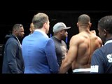 ON-STAGE ANGLE OF ANTHONY JOSHUA v KEVIN JOHNSON WEIGH IN - INCLUDING KINGPIN'S HEART FEEL OF JOSHUA