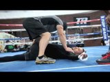 MATT KOROBOV STRETCHING SESSION @ TOP RANK GYM AHEAD OF WORLD TITLE FIGHT WITH ANDY LEE