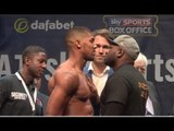 ANTHONY JOSHUA v KEVIN JOHNSON OFFICIAL WEIGH IN & HEAD TO HEAD / RULE BRITANNIA