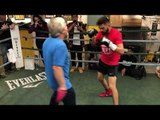 JOSE RAMIREZ SMASHES THE PADS W/ TRAINER FREDDIE ROACH AS HE GETS SET FOR AMIR IMAM