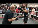 DANIEL JACOBS PAD WORK WITH TRAINER ANDRE ROZIER @ OPEN WORKOUT IN NEW YORK/ JACOBS v SULECKI