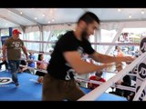 FAZED? -ARTUR BETERBIEV PRETENDS TO JUMP OUT OF RING - AS CALLUM JOHNSON FANS TRY TO RATTLE HIM