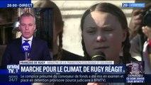 """Marche pour le climat: un échange """"très intéressant et direct"""" entre Emmanuel Macron et la jeune militante suédoise Greta Thunberg"""
