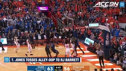 Duke's Tre Jones Tosses Alley-Oop to RJ Barrett