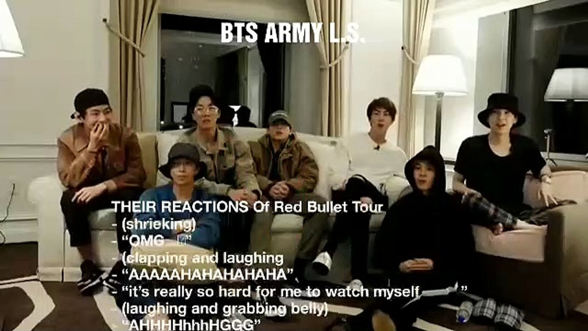 (ENG SUB)BTS REACTION ON RED BULLET TOUR 2019 TRESER