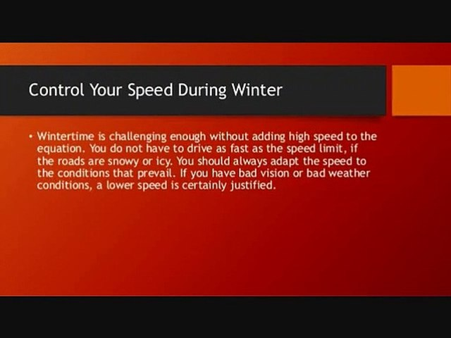 Control Your Speed During Winter