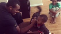 Baby Beats Dad in Arm Wrestling